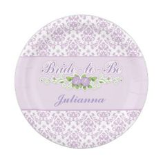 Perfect Purple, Damask Pattern Bridal Shower Paper Plate