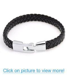 Bling Jewelry Mens Black Braided 8mm Flat Leather Cord Bracelet #Bling #Jewelry #Mens #Black #Braided #8mm #Flat #Leather #Cord #Bracelet