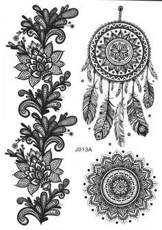Noir dream catcher temporaire tatouage dentelle florale de mandala Gypsy Bohème tatouages temporaires au henné noir tatouage