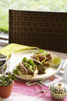 Grilled Pork Tacos and Grilled Garlic-Marinated Skirt Steak Tacos #tacos #summer