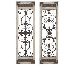 Shabby Vintage Cottage Chic Distressed White Wood Iron Door Wall Decor