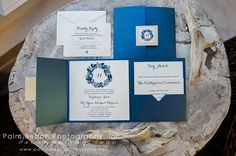 Love the blue invitations by Carlson Craft, photo by Palm Beach Photography, Inc.