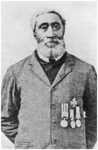 William Hall, VC.  The son of former slaves, William Hall was the first black man, the first from Nova Scotia, and only the third Canadian to win the Victoria Cross.  An able seaman in the Royal Navy, he served with the Naval Brigade at the battles of Inkerman and Sevastopol in the Crimea.  In 1857, he again served with the Naval Brigade, where he was awarded the VC for heroically continuing to service his naval gun under fire during the relief of Lucknow. He retired a petty officer.