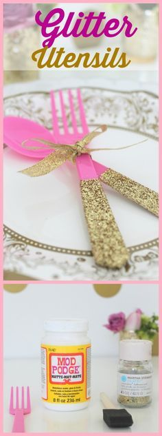 Glitter Party Utensil DIY                                                                                                                                                                                 More