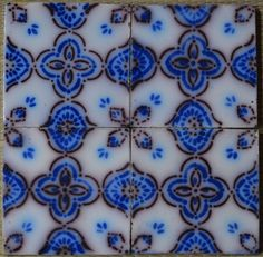 ¤ FRANCE ANTIQUE TILE - PAS DE CALAIS - DESVRES - 4-TILE SET c1870 in Tiles | Fourmaintraux-Hornoy fabricant rue des Potiers