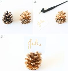 DIY/Holiday   Gold Pine Cone Place Card Holders