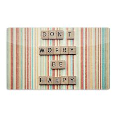 """Nastasia Cook """"Don't Worry Be Happy"""" Typography Fine Art Gallery Print Dog Food Container, This Is Us Quotes, Etsy Uk, Tile Art, Quote Prints, Don't Worry, Pillow Shams, Dog Food Recipes, Pet Supplies"""