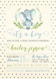 Elephant Boy Baby Shower Invitation Baby Boy Invite Watercolor Elephant Baby Shower Invite Polka Dot DIY Printable Invite PDF by SassyGraphicsDesigns