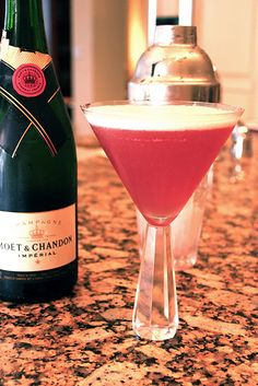 French Martini..yum!1 1/2 ounces vodka  1 ounce pineapple juice  1/2 ounce Chambord (raspberry liqueur)  Champagne   Ice