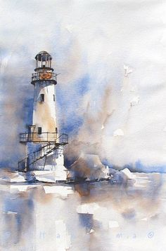 lighthouse in blueandbrown