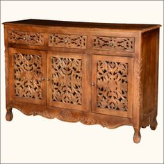 Pennsylvania German Mango Wood Hand Carved Buffet Cabinet