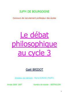 Le débat philosophique au cycle 3 (Mémoire PE2)