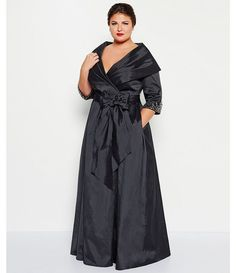 Adrianna Papell Black 3/4 Sleeve Taffeta Portrait Collar Wrap Gown Dress SIZE 14 #AdriannaPapell #BallGownMaxiWrapDressFulllength #Formal