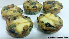 Muffins de espinaca y champiñones. Facil, saludables y estan buenisimos!!  Como aperitivo o guarnicion quedan geniales!!  Receta paso a paso con fotos