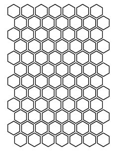 1 inch hexagon pattern. Use the printable outline for crafts, creating stencils, scrapbooking, and more. Free PDF template to download and print at http://patternuniverse.com/download/1-inch-hexagon-pattern/