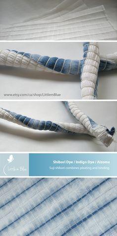 Indigo shibori dye - Suji shibori combines pleating and binding. (Little m Blue)