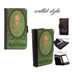 iPhone and Galaxy leather wallet case - Green Nightshade Spells witches skull poison grimoire
