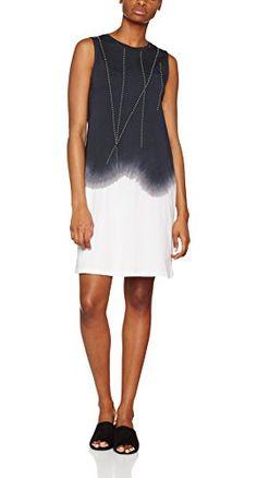 fc459da5d ICHI 20104198 Vestido Para Mujer Blanco Negro (Raven 10050) 38 (Talla del  Fabricante  M)