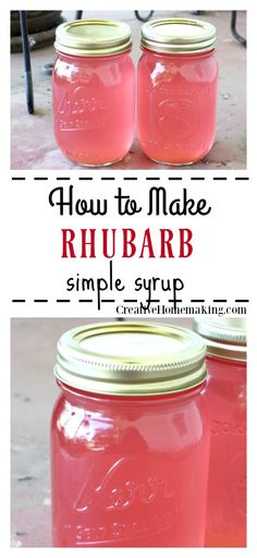 Rhubarb Simple Syrup Recipe for homemade rhubarb simple syrup to freeze or can. Use this simple syrup to flavor cocktails, lemonade, iced tea, or enjoy on your favorite ice cream or yogurt. Easy recipe for beginning canners. Rhubarb Syrup, Rhubarb Tea, Pickled Rhubarb, Rhubarb Cocktail, Rhubarb Wine, Rhubarb Desserts, Rhubarb Recipes Simple, Rhubarb Recipes To Freeze, Rhubarb Jam Recipes Easy