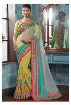 Shaded Light Lime and Turquoise Embroidered Saree