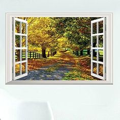 """Dnven (24""""w X 16""""h) 3D Full Colour High Definition Autumn Feel Road in Forests Nature Forests Scenery False Faux Window Frame Window Mural Vinyl Bedroom Living Room Playroom Wall Decals"""