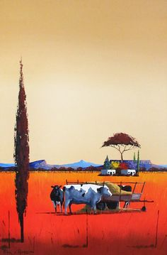 Pieter van Heerden - Colourful Farm Scene (910 x 610) (SOLD) Watercolor Landscape Paintings, Landscape Art, South Africa Art, Windmill Art, Pomegranate Art, Farm Images, Acrilic Paintings, Naive Art, City Art