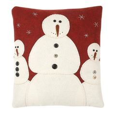 Pillow - Snowman Trio - Primitive Country Rustic Embroidered Christmas Winter Seasonal Stitchery by Coll, http://www.amazon.com/dp/B00E253WX6/ref=cm_sw_r_pi_dp_.l0bsb0E2NPRW