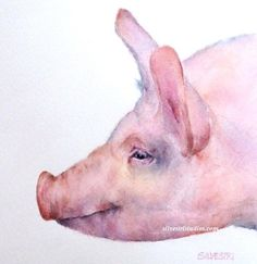 """""""Percy Pig"""", watercolor pig painting by animal artist Teresa Silvestri.  Original sold, but fine art prints & cards available."""