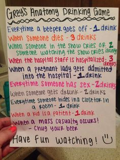 grey's anatomy drinking game - Google Search