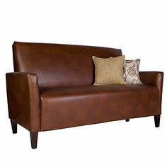 angelo:HOME Sutton Saddle Brown Renu Leather Sofa | Overstock™ Shopping - Great Deals on ANGELOHOME Sofas & Loveseats