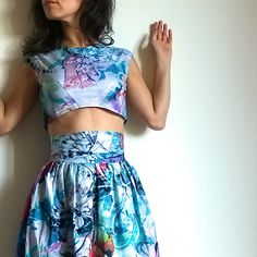 """Akadi """"Bloom"""" XS / 34 - Psychedelic floral and butterfly print two-piece outfit - Corolla skirt and cropped fitted top. CHF136.00, via Etsy."""