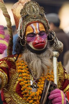 Wow, a holy man dressed up as Hanuman