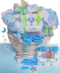 Baby Gift Baskets | Baby Gifts » Elegant Beginnings Luxury Personalized Baby Gift Basket ...
