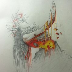 Pencil drawing of Hawaiian Goddess, Pele, by Joseph Buck Dancer Tattoo, Dancer Drawing, Hawaiianisches Tattoo, Wrench Tattoo, Hawaiian Mythology, Hawaiian Goddess, Hawaiian Tribal Tattoos, Samoan Tribal Tattoos, Hawaiian Island Tattoo