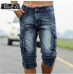 fe88f4fc44 2014 New Men Retro Cargo Denim Shorts, Men'S Casual Washed Cotton Short  Jeans,Mens Military Style Free Shipping Q633-in Shorts from Men's Clothing  ...