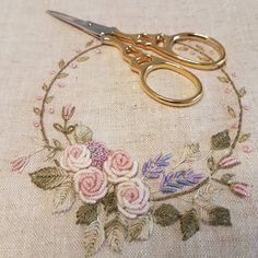 Showtime for the January WIP . If only I could bring myself to finish it off with teeny little buttons charms and a few bits and bobs… Hand Embroidery Patterns Flowers, Embroidery Hoop Art, Cross Stitch Embroidery, Machine Embroidery, Brazilian Embroidery, Textiles, Couture, Needle Case, Pastel Shades
