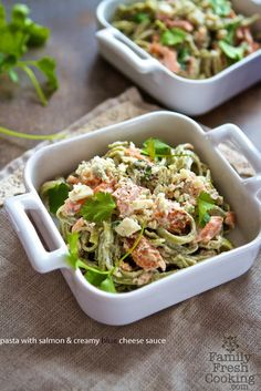 Pasta with Salmon & Creamy Blue Cheese Sauce - New Post from Family Fresh Cooking