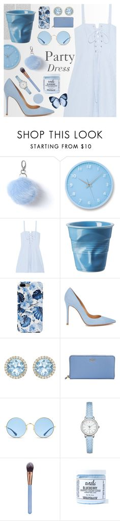 """Pastel Blue Party Dress!"" by pricklypear ❤ liked on Polyvore featuring Miss Selfridge, Lemnos, Solid & Striped, Oris, Revol, Gianvito Rossi, Kiki mcdonough, Kate Spade, Ray-Ban and Luxie"