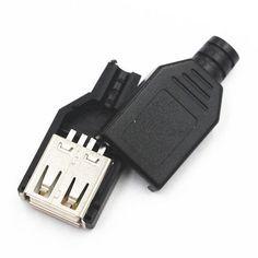 새로운 10 개 형 여성 USB 4 핀 플러그 소켓 커넥터 블랙 플라스틱 커버