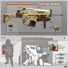 Rifle with Grenade launcher concept by Karanak.