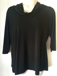PLUS Size Woman's CHICO'S Black Cowl Neck Top Blouse 3/4 Sleeve 3 - http://www.ebay.com/itm/221975595059?rmvSB=true