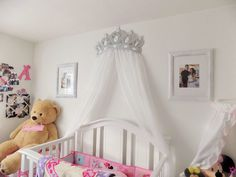 Bed Canopy Crown Wall Decor in WHITE With Sheer by WakeUpSweetPea