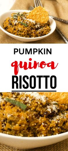 This delicious Pumpkin Quinoa Risotto is so creamy and the perfect easy and healthy recipe for fall.  With goat cheese, sage, and Parmesan, it makes a fabulous holiday side or vegetarian main course for Thanksgiving. #quinoa #quinoarisotto #vegetarian Thanksgiving Recipes, Fall Recipes, Great Recipes, Dinner Recipes, Best Quinoa Recipes, Vegetarian Recipes, Healthy Recipes, Pumpkin Quinoa Risotto, Vegetarian Main Course