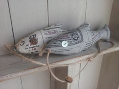 Fabric fish in tailors linen. by littlebowery on Etsy, £16.00