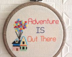 Adventure Is Out There - UP Quote Cross Stitch Wall Art