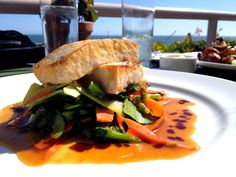 Seared Miso Tofu on delicious Stir-Fried Veggies in a Sweet & Sour Sauce, at the world class Geoffery's Restaurant in Malibu, California, over looking the Pacific Ocean. ( #vegan variation of the dish)