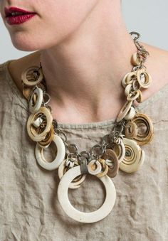 Antique Brass Natural Mussel Shell Pendant Set 19 Inches Necklace and Earrings Jewelry Set