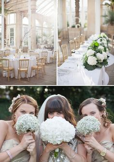I love the babies breath bridesmaid bouquets and the Hydrangea bridal bouquet