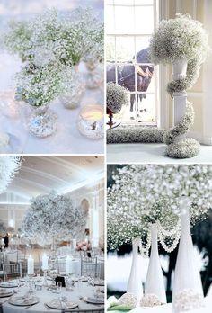 baby's breath wedding decor ideas for winter wonderland weddings