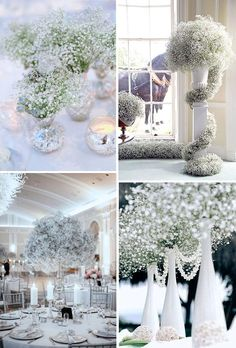 baby's breath wedding decor ideas for winter wonderland weddings